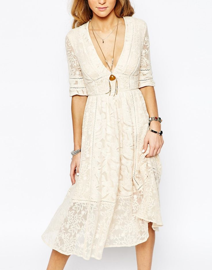 Image 3 of Free People Laurel Lace Dress in Almond