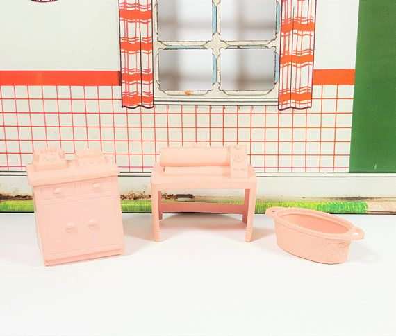 Vintage Laundry Utility Room Pink Furniture Set. 1/2