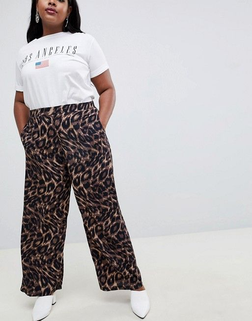 fca6d319af9 New Look Curve animal print wide leg pants