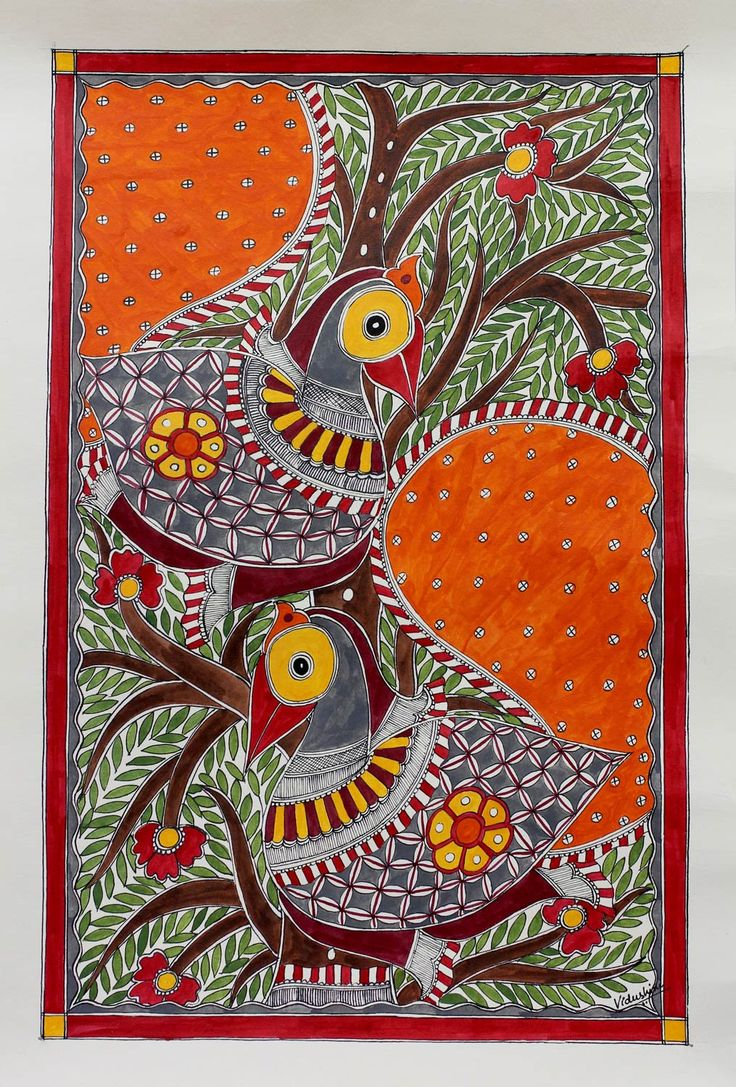 Madhubani painting - Birds in Harmony | NOVICA Elegant birds flaunt splendid plumage, each one hand painted in the Madhubani style on handmade paper. Originating in Mithila, Madhubani paintings strive to show a perfect harmony in the natural world. Vidushini works in a vibrant palette of primary hues.