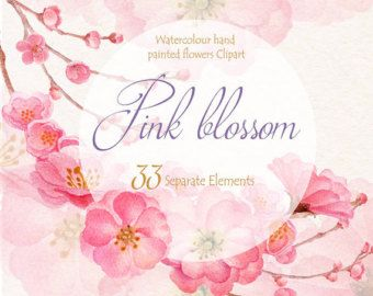 Fiore di primavera acquerello Clip Art, mano dipinto floreale elementi separati, nozze invito, biglietto di auguri, file digitali, PNG