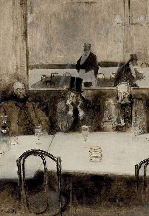 Paul Verlaine, Bibi-la-Purée et Stéphane Mallarmé au café Procope, Serafino Macchiati,1890.