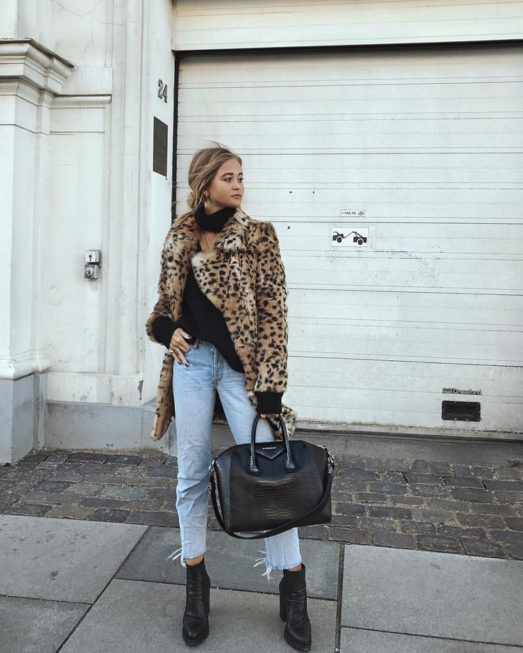 Leopard jacket and worn in jeans
