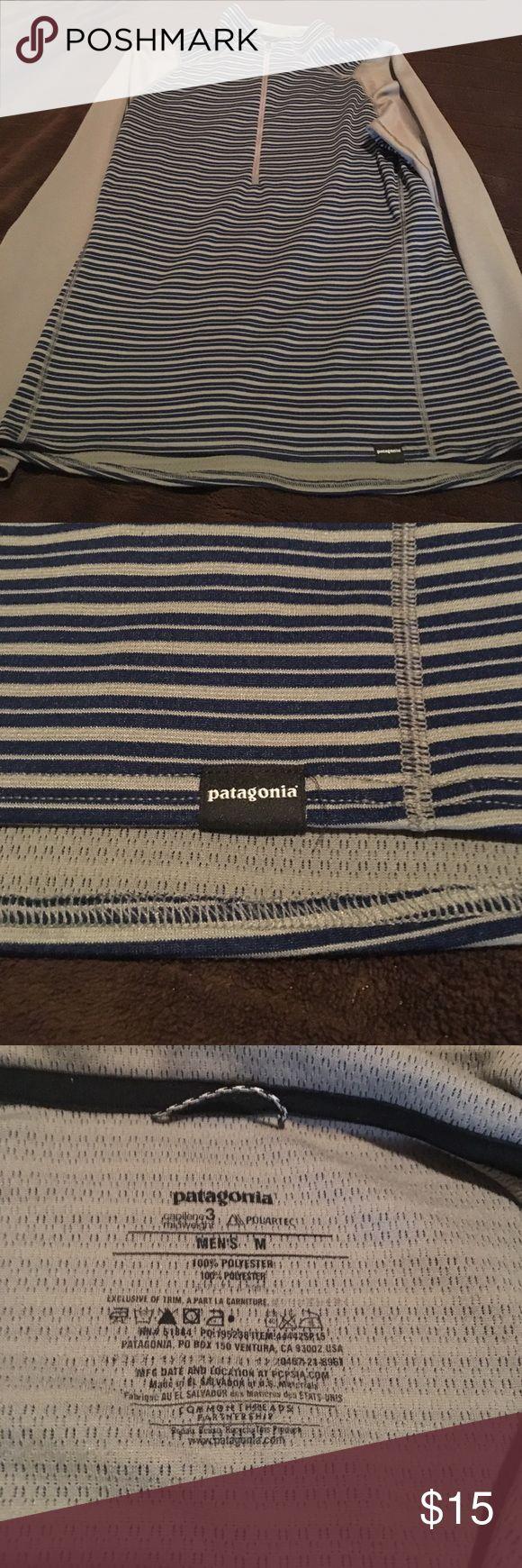 Men's Patagonia ski base layer Practically brand new. Grey with blue stripes. Patagonia Shirts Tees - Long Sleeve