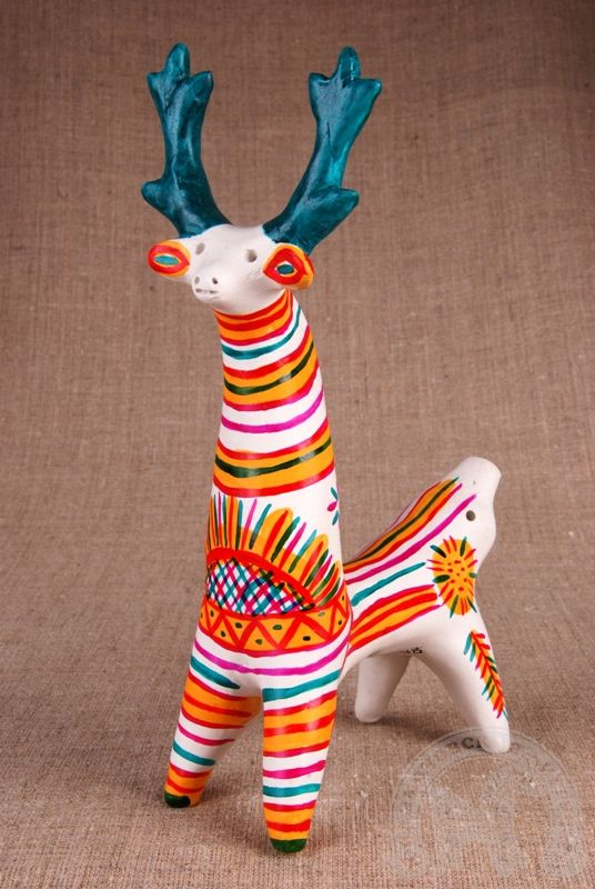 Russian traditional Filimonovo clay toy representing a deer. #folk #art