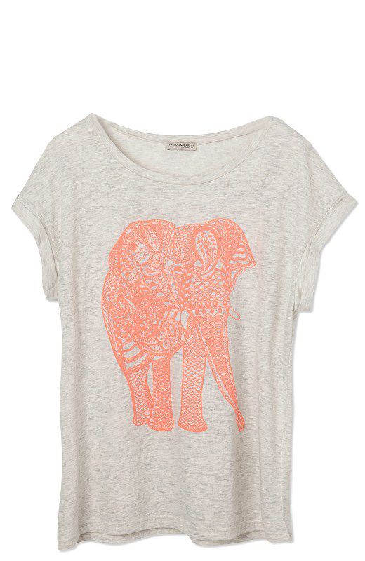 Light Grey Short Sleeve Elephant Print Loose T-Shirt