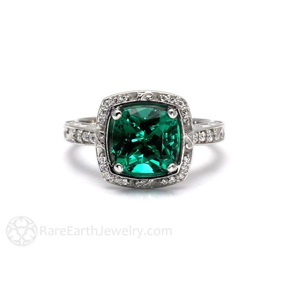 Art Deco Engagement Ring Emerald Ring Cushion Diamond Halo 14K or 18K Gold Platinum Vintage May Birthstone
