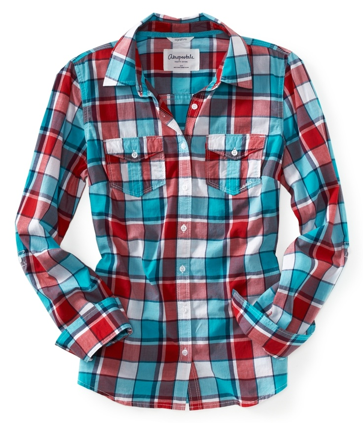 Aeropostale womens long sleeve tai plaid woven shirt for Country girl flannel shirts