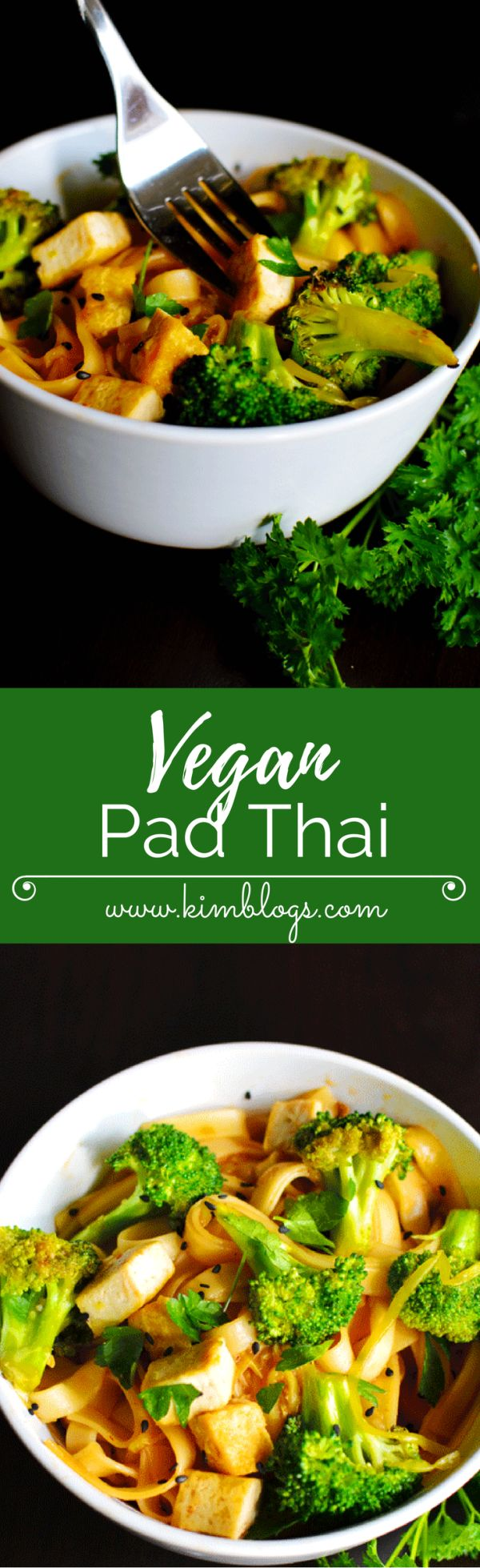Healthy and filling vegan pad thai made with broccoli, nasoya tofu, zuchinni, and noodles. Combined with sauce this recipe was amazing!- www.kimblogs.com