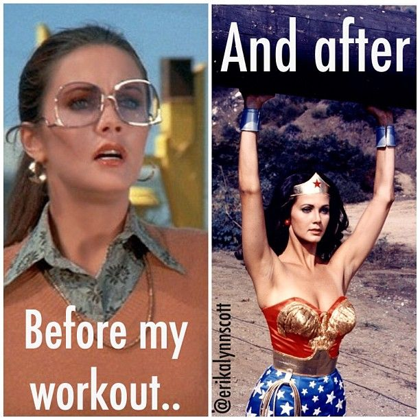 """Before my workout.... and after."" #Gym #humour #WonderWoman"