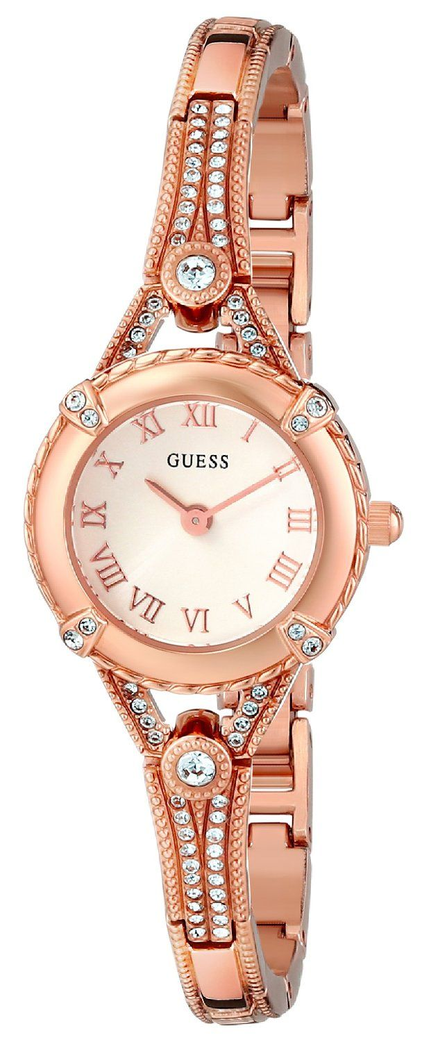 GUESS Women's U0135L3 'Petite Embellished Crystal' Rose Gold-Tone Watch ** Check out the watch by visiting the link.