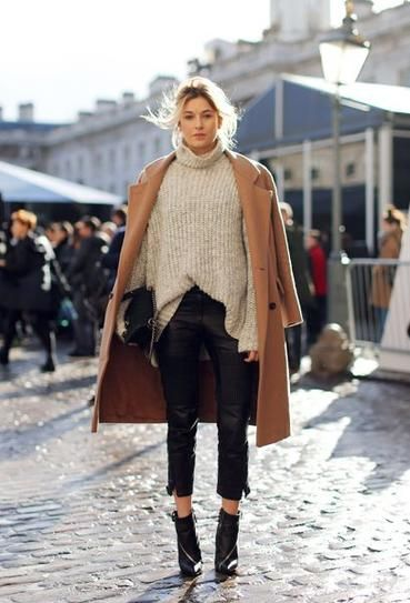 25 winter outfits to copy - camel coat, oversized gray turtleneck sweater, black leather cropped pants + ankle boots