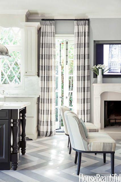chevron pattern floors add texture,  Designer Mary McDonald - love the grays