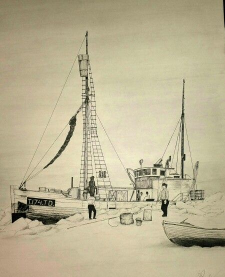 "Vessel ""Forland""getting crushed by the ice at Spitsbergen august 1958.Crew saved after 28 days ,rowing 1000 km"