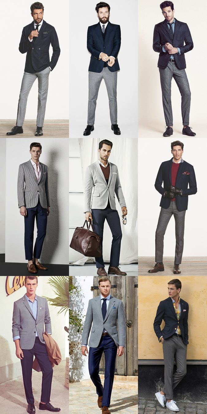 Men's Navy And Grey Blazer/Trouser Combinations - Separates - Outfit Inspiration Lookbook