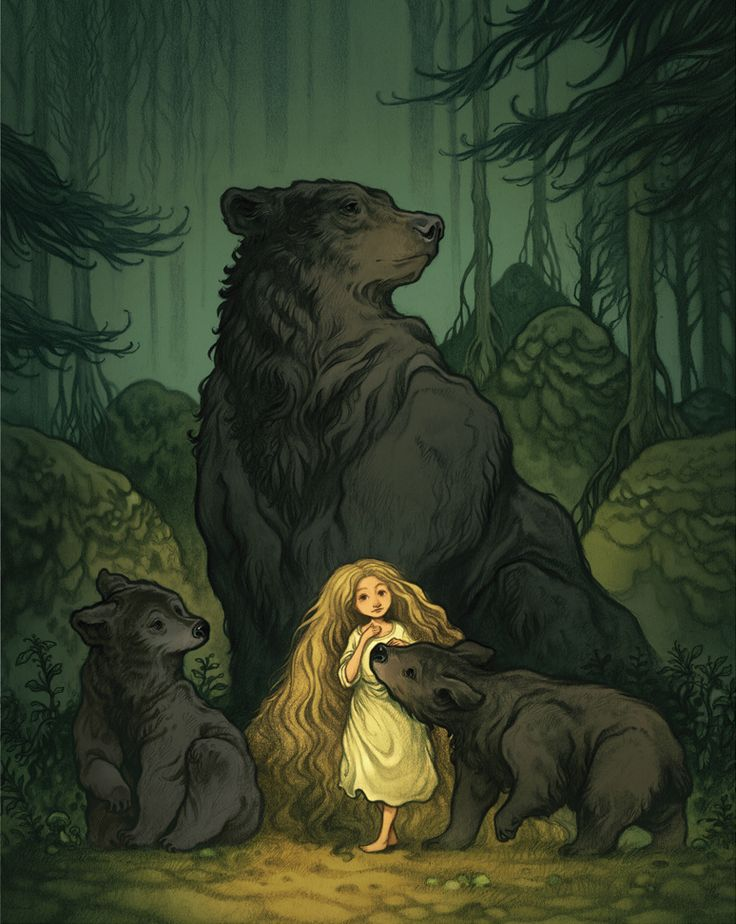 Digital art illustration; nature scene of little girl with bears in a forest