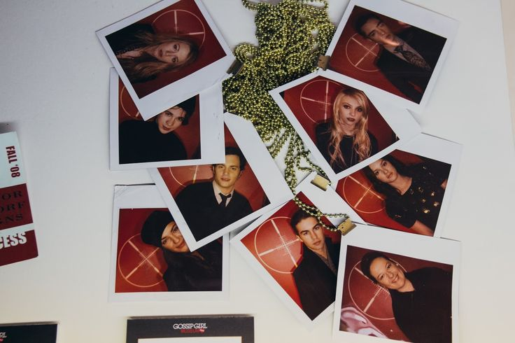 It's the Polaroid pictures of the Gossip Girl characters from their game of Assassin at Nate's surprise birthday party!