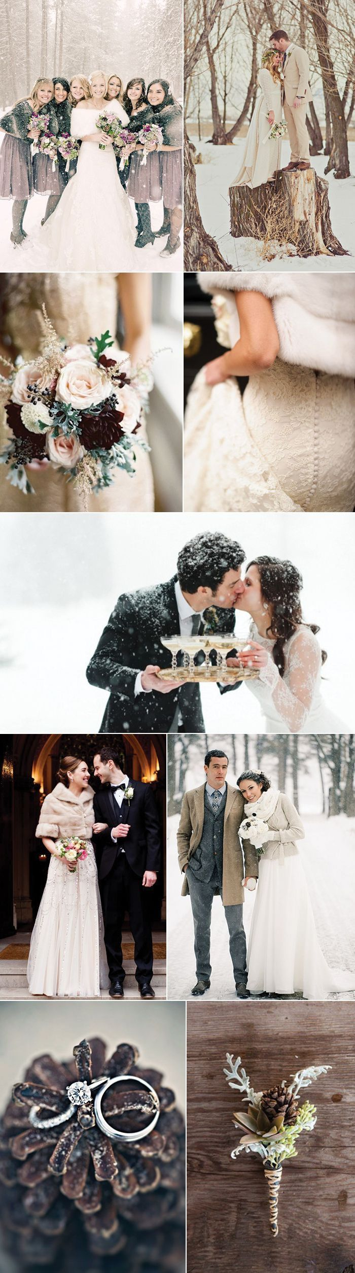 winter wedding in the snow, bride and groom photos in the snow, winter white wedding style