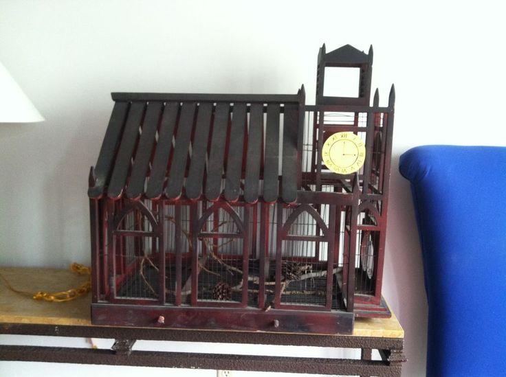 Handmade wood antique bird cage