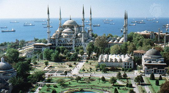 The Blue mosque with its distinctive enemble of six minarets