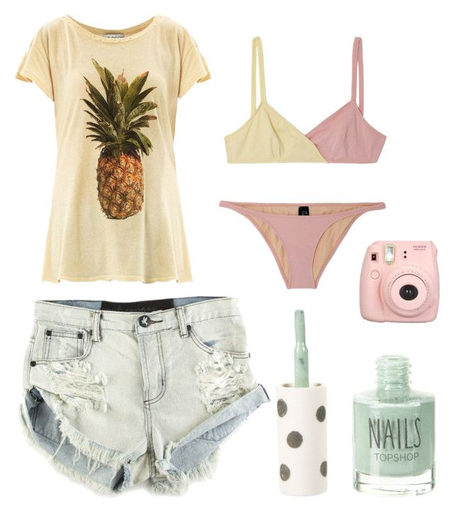 """""""Summer"""" by sophie-lawrence ❤ liked on Polyvore featuring Lisa Marie Fernandez, Topshop, Wildfox, Fujifilm and OneTeaspoon"""
