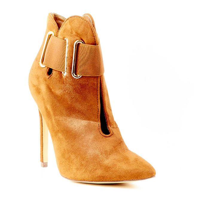 Tan Suede High Heeled Ankle Boot by Miss Black Footwear.