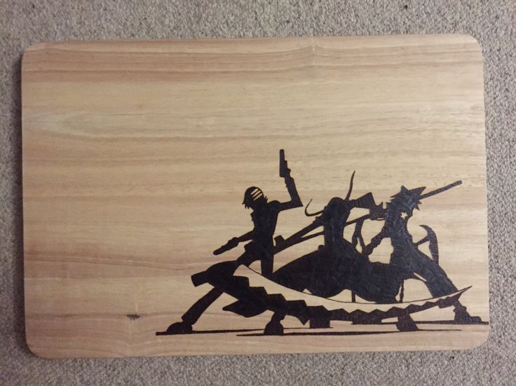 Large Hand Burned Soul Eater Silhouettes Pyrography Chopping Board by FrodoInWonderland on Etsy https://www.etsy.com/listing/240073004/large-hand-burned-soul-eater-silhouettes
