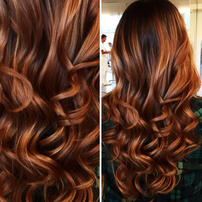 Dark red hair with light airy curls