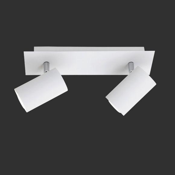 Moderner Wand- oder Deckenstrahler aus Metall mit schwenkbaren Schirmen - 2-flammig - weiß + Extra 2x GU10 LED Leuchtmittel zur freien Nutzung | WOHNLICHT