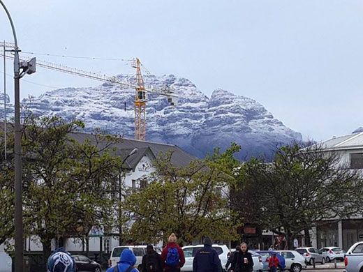 Snow-capped mountains in Stellenbosch, Cape Town. Picture: iWitness