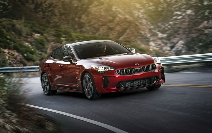 Lataa kuva Kia Stinger, 2018, Urheilu sedan, punainen Stinger, Korealaisia autoja, Kia