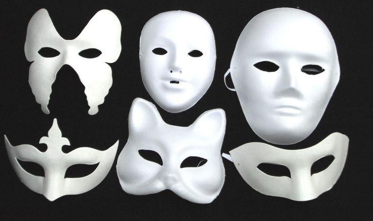 WHITE MASK PLAIN MASKS Masquerade Halloween Party DECORATE PAINT Fancy Dress