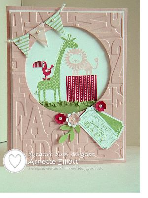 Zoo Babies stamp set, Raspberry Ripple, Pear Pizzazz and Blushing Bride cardstock