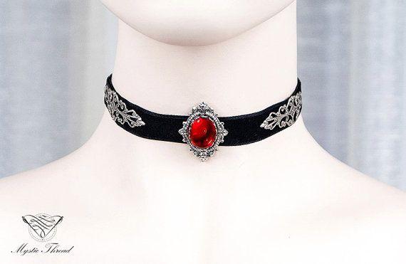 Black velvet choker with ruby gem-victorian choker-gothic choker-velvet choker by MysticThreadDesigns