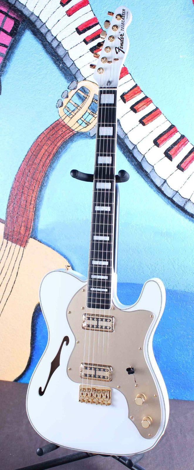 Fender FSR Telecaster Thinline Super Deluxe Olympic White Tele Electric Guitar