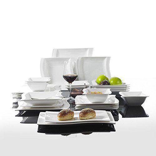 Malacasa, Serie Flora, 26-teilig Geschirrset Kombiservice aus Wei�en Porzellan im Klassischen Design mit 6 Schalen, 6 Dessertteller, 6 Suppenteller, 6 Speiseteller und 2 Rechteckigen Platten
