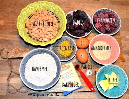 Alle ingrediënten voor een gezonde frambozencake.
