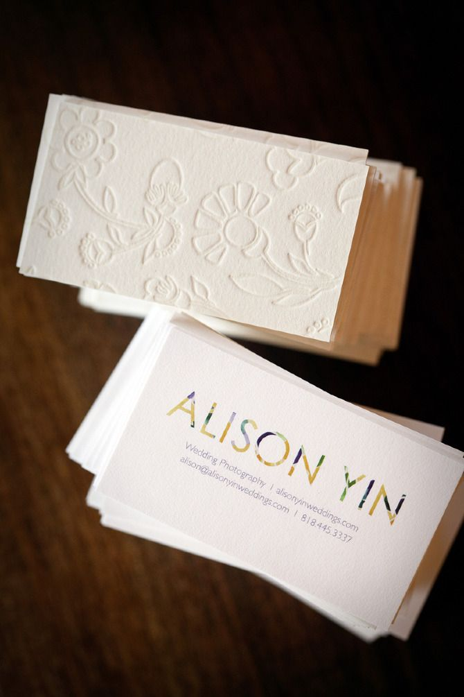 beautiful letterpress business cards with simple floral type for name (emma robertson)