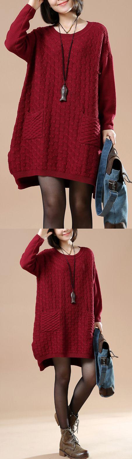 Burgundy cute sweater dresses witner knit pullover