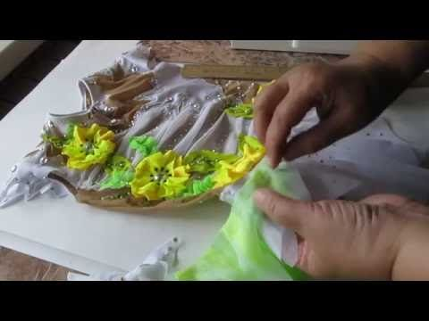 как сделать объёмные цветы на костюме для гимнастики - YouTube
