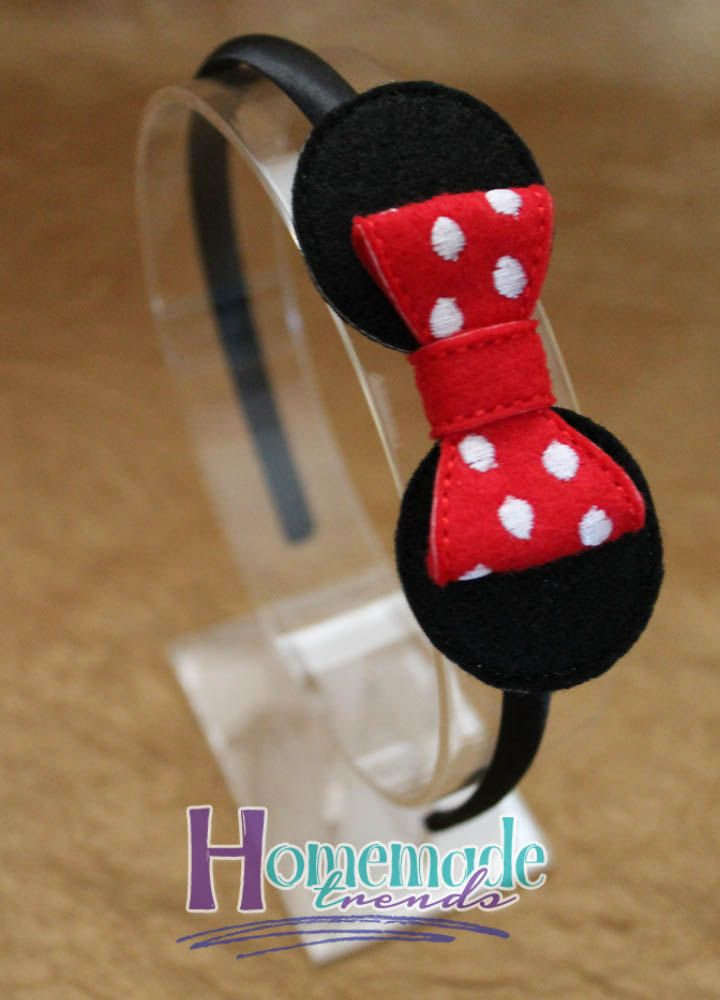 Mouse Headband-Polka Dot Mouse Bow-Mouse Hair Accessory-Red Mouse Bow-Pink Mouse Bow-3D Felt Mouse Bow-Mouse Hair Clip-Mouse FOE-3D Felt Bow - pinned by pin4etsy.com