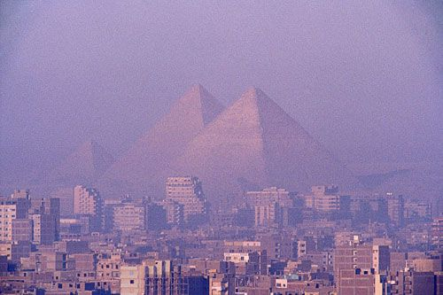 The Great Pyramids-- Ancient skyscrapers that serve the purpose of tombs. Egypt, Africa