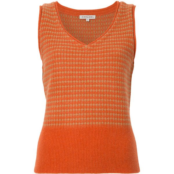 Caramel knitted vest (€215) ❤ liked on Polyvore featuring outerwear, vests, orange, orange vest and vest waistcoat