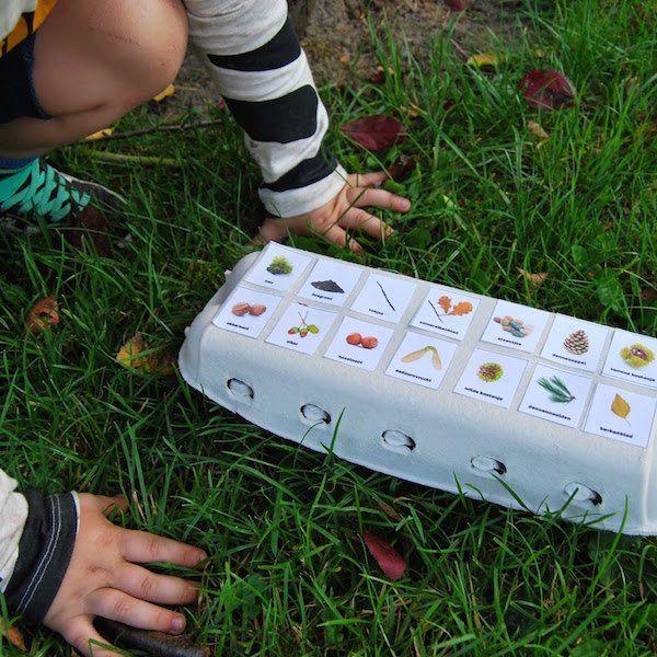 Zelf een leuke en informatie herfstwandeling maken kan met deze eierdoos met herfst thema. Print uit, knutsel in elkaar en ga naar buiten! #herfst #diy