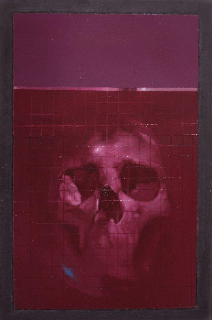 Vanitas, olio su ardesia, 30 x 20 cm