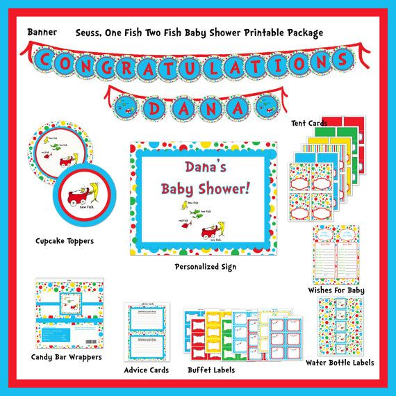 INSTANT DOWNLOAD -DIY Printable Dr. Seuss One Fish, Two Fish Printable Baby Shower Package 2