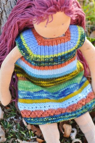 Waldorf doll knitted dress.