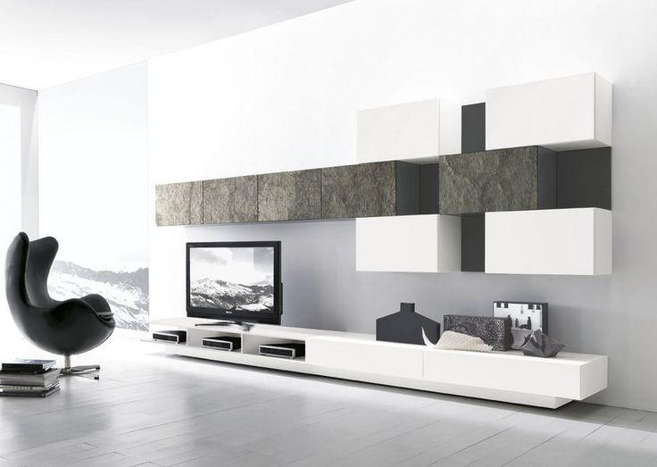 mobile da soggiorno Modulart Presotto con base con cassetti rialzata con vani porta stereo e pensili laccati e pietra vera.