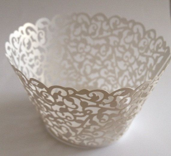 Beautiful Pearlize White Lace Wedding Filigree Cupcake Liners Liner Baking Cup