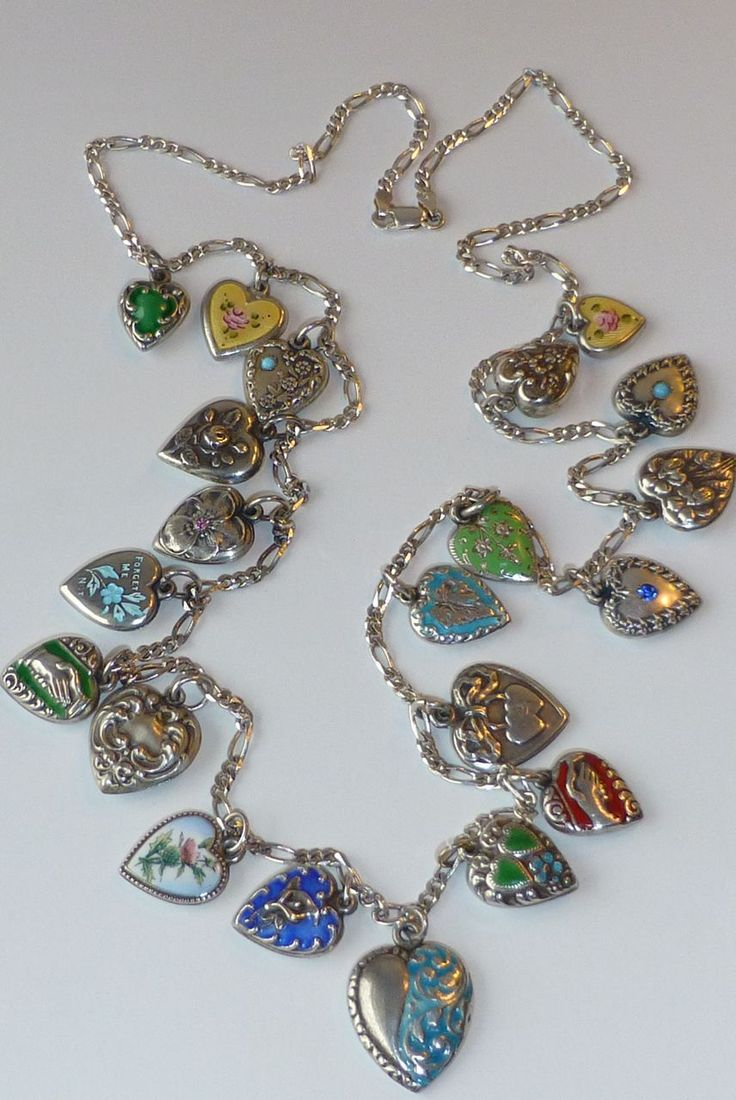Fabulous Puffy Sterling Heart Charm Necklace, 21 Collected Vintage Sterling Silver Enamel, Repousse, Jeweled Hearts on a Later Italian 925 Chain.